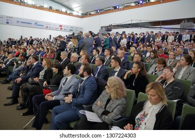 "MOSCOW, RUSSIA - JAN 17, 2018: Gaidar Forum 2018. Panel discussion ""The sustainability of economic growth in Russia and the world"""