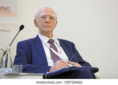 MOSCOW, RUSSIA - JAN 17, 2018: Victor Meerovich Polterovich, President Emeritus, New Economic Association; Academician, the Russian Academy of Sciences at the Gaidar Forum 2018