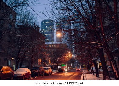 MOSCOW, RUSSIA - JAN. 2016: View of the evening streets of Moscow and Moskva-Siti on the background, Russia