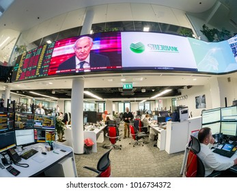 MOSCOW, RUSSIA - JAN 30, 2018: View to busy trading floor of the Sberbank CIB stock exchange in Moscow on Jan 30, 2018. It is the new largest trading floor in Europe with 4000 square meters area.
