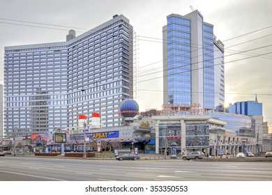 MOSCOW, RUSSIA - January 01.2014: New Arbat Avenue in the historical center of city