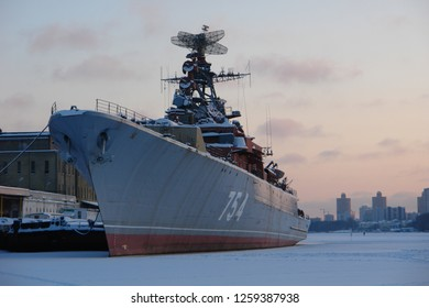 """Moscow, Russia - January 03, 2010: Abandoned Soviet guard ship """"Druzhniy"""" (amicable) at Northern River Station at Moscow - Image"""