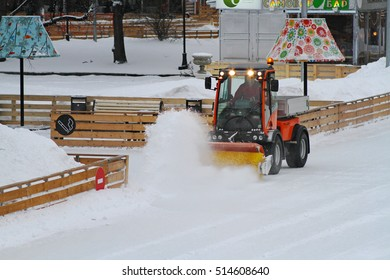 Moscow, Russia - January 03, 2013: Special machine cleans the ice skating rink in Park Gorkogo in Moscow