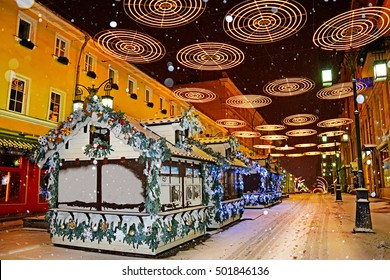 MOSCOW, RUSSIA - January 04, 2016: Christmas market on the streets of Moscow  at snowy night