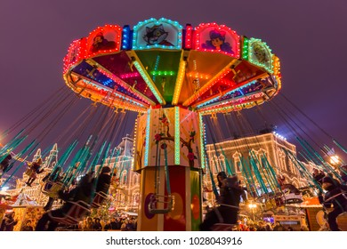 Moscow, Russia - January 05, 2018: Christmas carousel on Red Square.