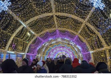 Moscow, Russia - January 05, 2018: Tverskoy blvd. A lot of people walk among holidays illumination. New Year 2018 holidays.