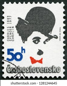 MOSCOW, RUSSIA - JANUARY 05, 2019: A stamp printed in Czechoslovakia shows portrait of Charlie Chaplin (1889-1977), series Famous men, 1989