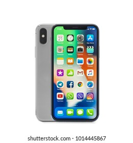 MOSCOW, RUSSIA - jANUARY 06,2018: iPhone X on white background. The iPhone X is smart phone with multi touch screen produced by Apple Computer, Inc.