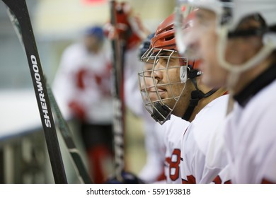 "Moscow, Russia - January, 07, 2017: Amateur hockey league LHL-77. Game between hockey team ""New Jersey 53"" and hockey team ""Reds""."