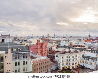 MOSCOW, RUSSIA - January 07, 2018. Panorama view on historic center of Moscow from Central Children Store. View on Zaikonospassky monastery, former building of V.K.Ferrein Drugstore, Kremlin