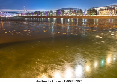 MOSCOW, RUSSIA - JANUARY 07, 2019: Moskva River and big sports arena on a winter evening, Moscow, Russia