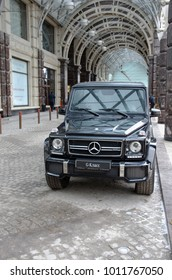 MOSCOW, RUSSIA - JANUARY 08, 2018: Mercedes-Benz G-Class parked near Ritz-Carlton in Moscow, Russia.