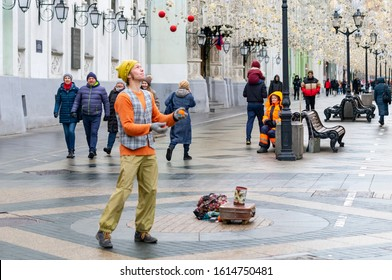 Moscow, Russia, January 08 2020, a Street artist juggles and entertains people walking in the center of Moscow.