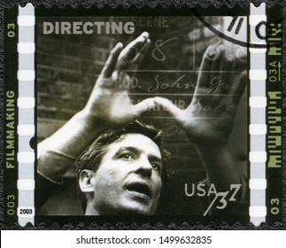 MOSCOW, RUSSIA - JANUARY 09, 2018: A stamp printed in USA shows Directing, American Filmmaking Behind the Scenes, 2003