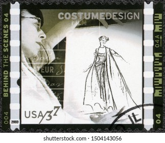 MOSCOW, RUSSIA - JANUARY 09, 2018: A stamp printed in USA shows Costume design Edith Head, American Filmmaking Behind the Scenes, 2003