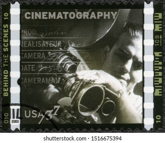 MOSCOW, RUSSIA - JANUARY 09, 2018: A stamp printed in USA shows Cinematography Paul Hill assistant cameraman for Nagana, American Filmmaking Behind the Scenes, 2003