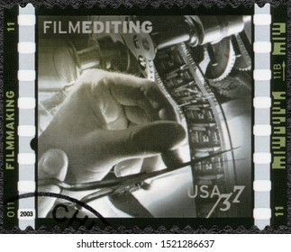 MOSCOW, RUSSIA - JANUARY 09, 2018: A stamp printed in USA shows Film editing Watson Webb editing The Razor Edge, American Filmmaking Behind the Scenes, 2003