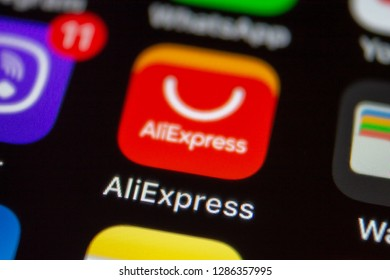MOSCOW, RUSSIA - JANUARY 11, 2018: AliExpress application icon on lcd screen close up.
