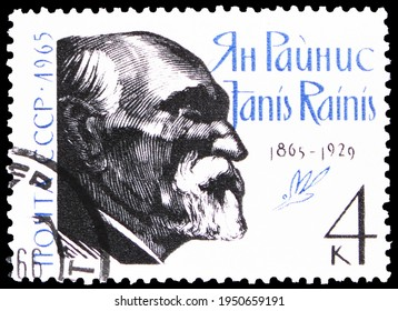 MOSCOW, RUSSIA - JANUARY 11, 2021: Postage stamp printed in USSR (Russia) devoted to Birth Centenary of Janis Rainis (1865-1929), Russian Writers serie, circa 1965