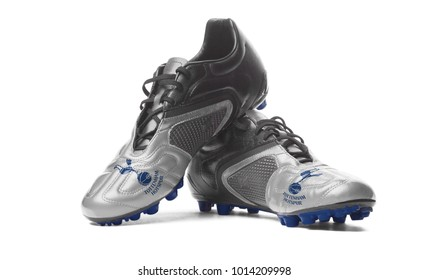 MOSCOW / RUSSIA - January 12, 2018: FC Tottenham Hotspur - football boots. Isolated on white.