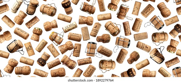Moscow, Russia - January 12 2021: Collection set of bottle corks and muselets from bottles of champagne wine on a light background. Seamless background.