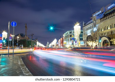 MOSCOW, RUSSIA - JANUARY 13, 2019:   Christmas (New Year holidays) decoration in Moscow (at night), Russia. Lubyanskaya (Lubyanka) Square.