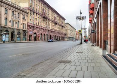 MOSCOW, RUSSIA - January 13.2018: 1st Tverskaya-Yamskaya Street. Main street of the city. Formerly Gorky street