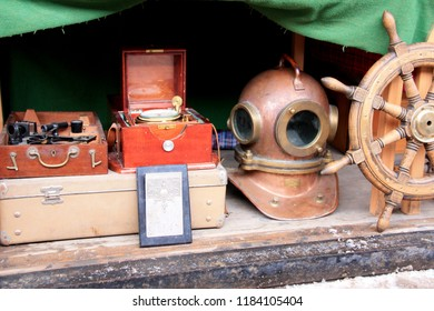 Moscow, Russia - January 15th 2011: Nautical artefacts and antiques at the Izmailovsky Market in Moscow