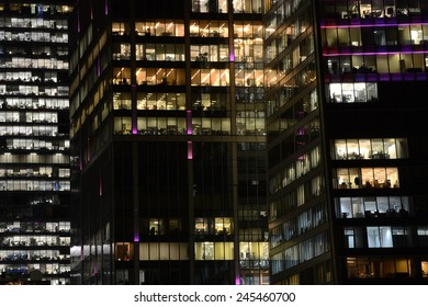 MOSCOW, RUSSIA - JANUARY 16, 2015:  People work in the office buildings in Moscow city district, Moscow, January 16, 2015.