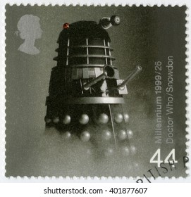 MOSCOW, RUSSIA - JANUARY 16, 2016: A stamp printed in Great Britain shows Dalek from Doctor Who television series, series British Achievements During Past 1000 Years, Entertainment and sports, 1999