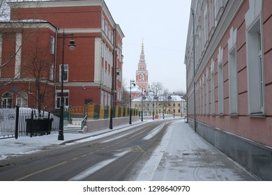 Moscow, Russia - January, 18,2019: the image of street in Moscow