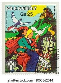 """Moscow, Russia - January 19, 2018: stamp printed in Paraguay shows Cinderella and Prince - scene from a fairy tale, series """"International Year of the Child - Grimm's Fairy Tale Cinderella"""", circa 1977"""