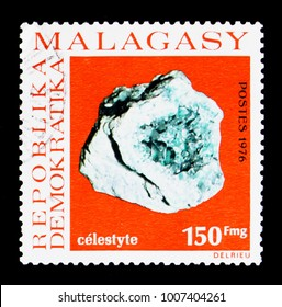 MOSCOW, RUSSIA - JANUARY 2, 2018: A stamp printed in Madagascar shows Celestite, Minerals serie, circa 1976