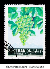 MOSCOW, RUSSIA - JANUARY 2, 2018: A stamp printed in Lebanon shows Vitis vinifera, Fruits serie, circa 1962