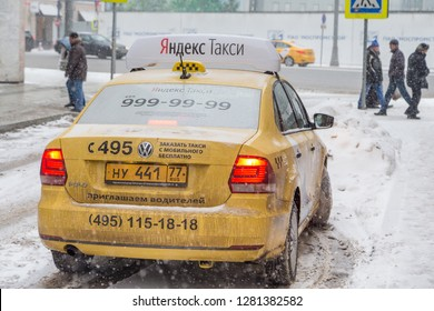MOSCOW, RUSSIA - JANUARY 2, 2019: Yandex taxi in Moscow during winter season