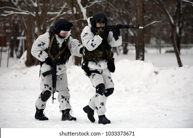 MOSCOW, RUSSIA - JANUARY 20, 2016:The soldiers of the special detachment are working out combat coordination while neutralizing the terrorists.