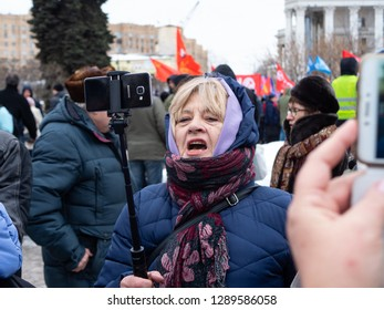 MOSCOW, RUSSIA - JANUARY 20, 2018: A rally against the transfer of the Kuril Islands to Japan