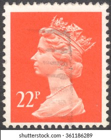 MOSCOW, RUSSIA - JANUARY, 2016: a post stamp printed in the UNITED KINDOM shows a portrait of Portrait of Queen Elizabeth II, circa 1970 - 1977