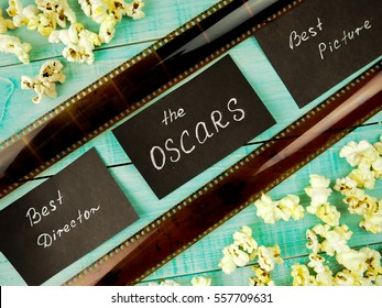 MOSCOW, RUSSIA - JANUARY 2017: film and popcorn concept the industry, movie, , Golden globe Oscar, best actress, producer, Director, picture