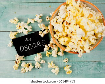 MOSCOW, RUSSIA - JANUARY 2017: film and popcorn concept the industry, movie, , Golden globe Oscar, best actress, producer, Director, picture, illustrative editorial