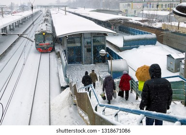 MOSCOW, RUSSIA - JANUARY, 2017: Railway station, winter view from the bridge.