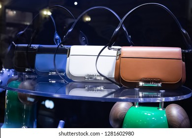 Moscow, Russia - January, 2019: Fashion Week Prada shopping. New Handbag collection - Prada Sidonie Belt Bags With Buckled Flap Closure, Prada Resort 19. Luxury store Prada in Moscow.