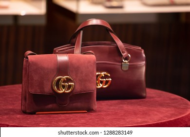 46c3f7ccc6c Moscow, Russia - January, 2019: Fashion Week Gucci shopping. Luxury Bag In