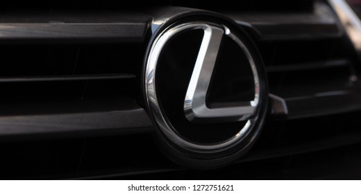 Moscow, Russia - January, 2019: Lexus Logo Close-up On Bumper Or Grill Of Car. Luxury Automobile Manufacturer.