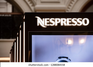 Moscow, Russia - January, 2019: Logo Nespresso Coffee - Capsules For Coffee Machine. Coffee Blend Nespresso - Worldwide Company of Coffee Products.