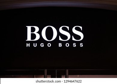 Moscow, Russia - January, 2019: Logo And Sign Or Signboard On Facade Boutique Hugo Boss. Luxury Store Hugo Boss In Moscow.