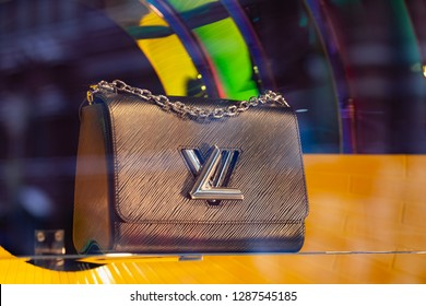 Moscow, Russia - January, 2019: Louis Vuitton Store. Handbags For Women, Combining Classic Style, Timeless Design. Luxury Store Louis Vuitton In Moscow.