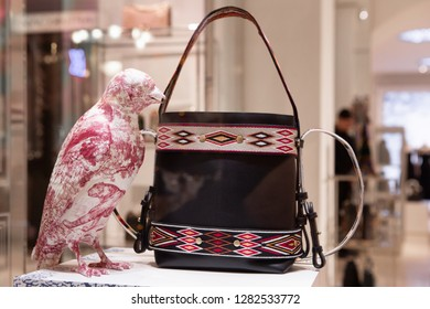 Moscow, Russia - January, 2019: Luxury Handbag Dior, Shopping. Luxury store Dior in Moscow.