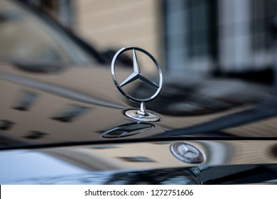 Moscow, Russia - January, 2019: Mercedes Benz Logo Close-up On Hood Of Car. Luxury Automobile Manufacturer, Multinational Division Of German Manufacturer Daimler.