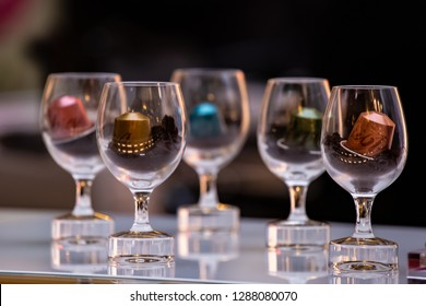 Moscow, Russia - January, 2019: Nespresso Coffee Capsules in Glasses. Coffee Blend Nespresso - Worldwide Company of Coffee Products.
